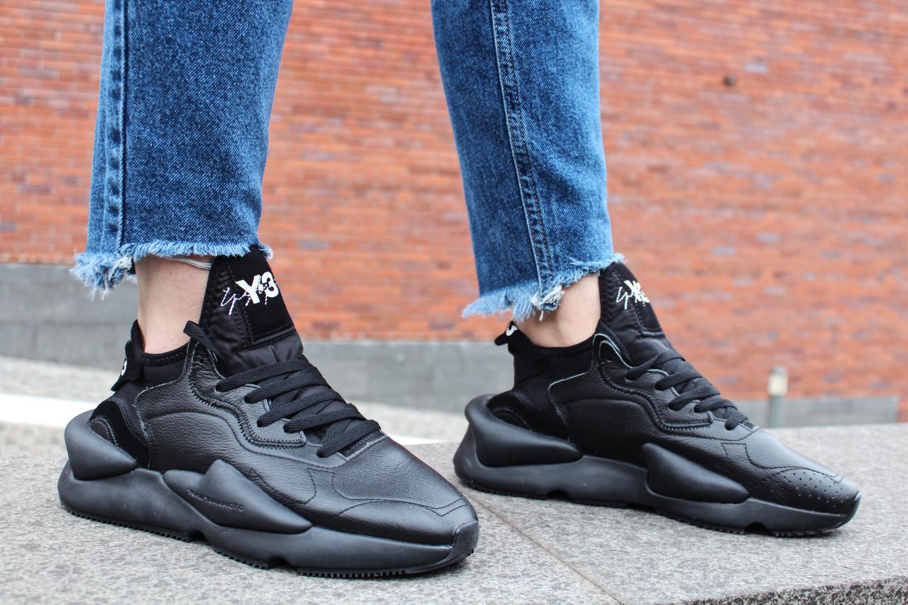 """Кроссовки женские Adidas Y-3 Kaiwa Chunky Sneakers by Yohji Yamamoto """"Triple Black"""" / BC0905 (Реплика)"""