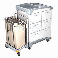 Тележка гостиничная с выдвижными ящиками и мешком для белья TSH-0007