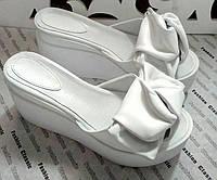 Сабо Star Банты! Босоножки женские кожаные шлепанцы на  платформе, фото 1