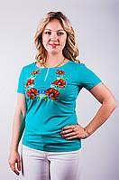 Яркая вышитая женская футболка