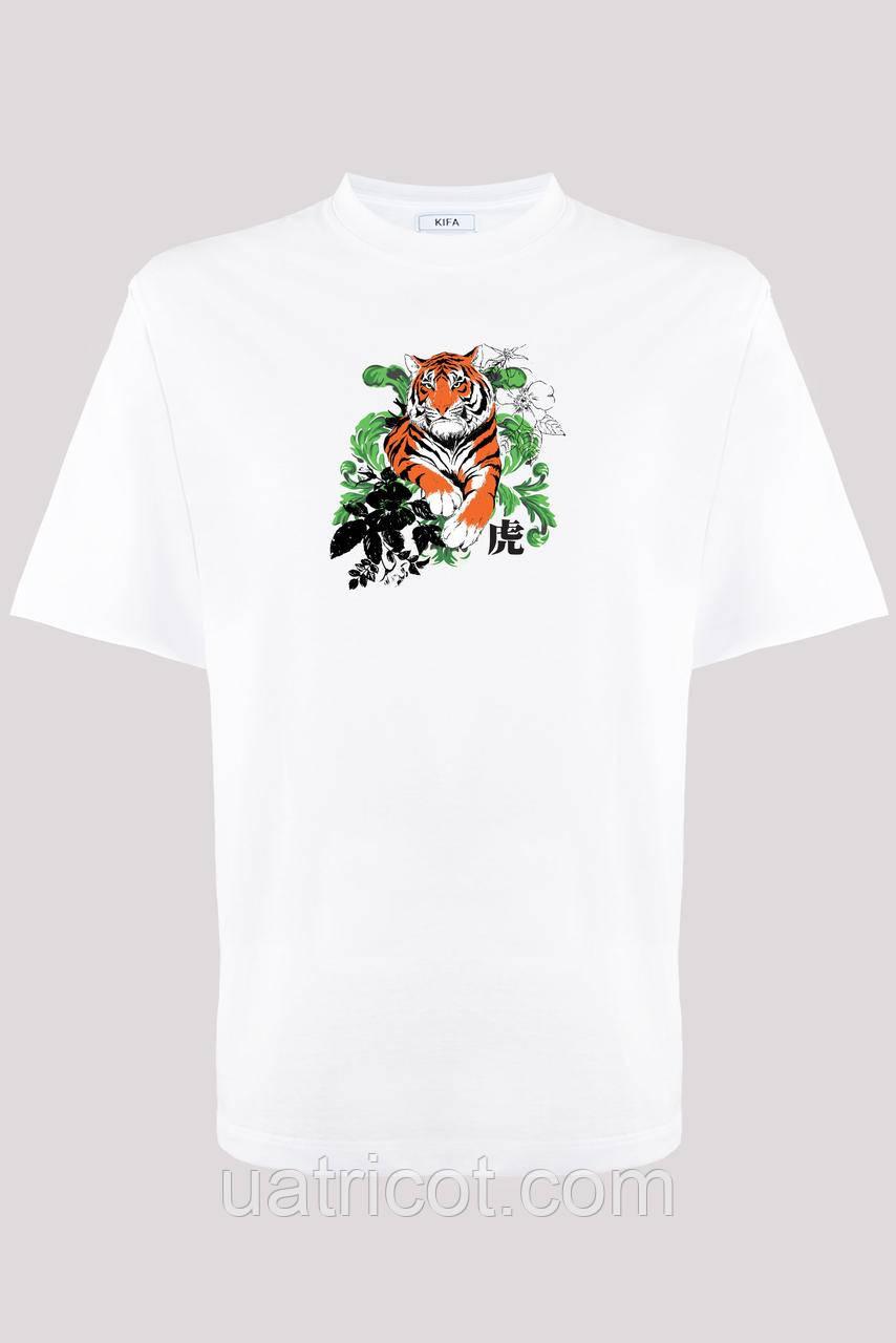 Футболка мужская KIFA ФМХ-019/15 Тигр в цветах белая