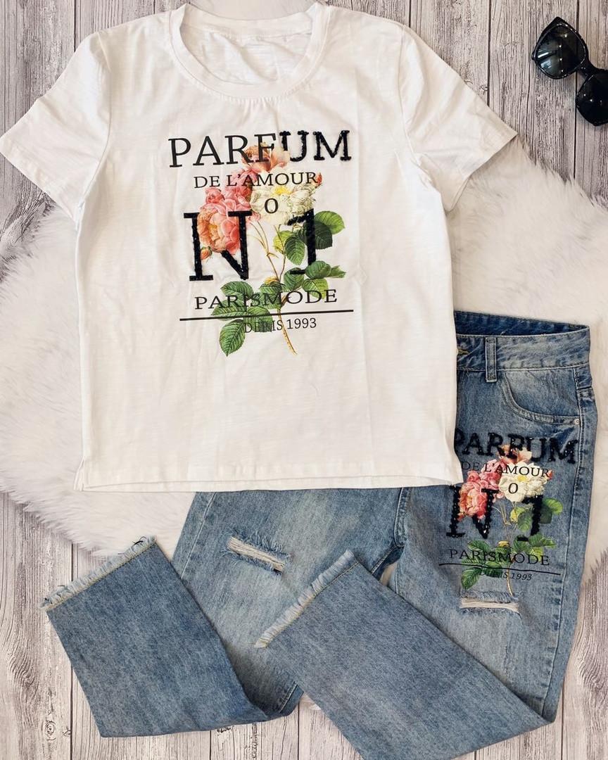 Костюм футболка и джинсы с вышивкой и пайетками