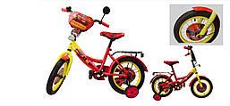 """Велосипед """"Тачки"""" двухколесный 12 дюймов со звонком, зеркалом и страховочными колесами"""