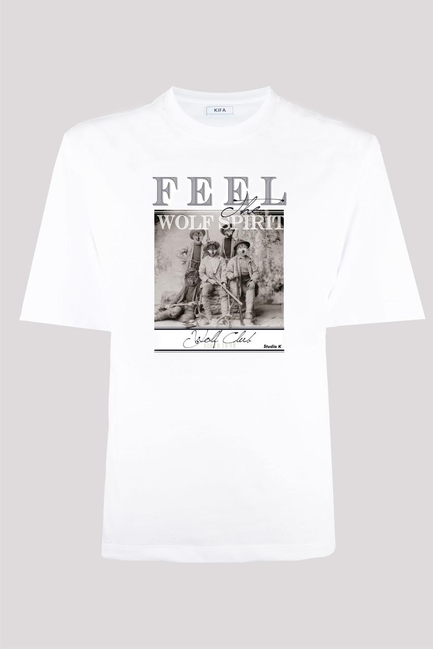 Футболка мужская KIFA ФМХ-019/15 FEEL WOLF SPIRIT белая