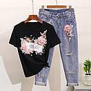 Костюм футболка и джинсы с вышивкой и пайетками, фото 3