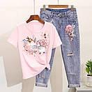 Костюм футболка и джинсы с вышивкой и пайетками, фото 4