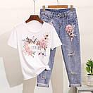 Костюм футболка и джинсы с вышивкой и пайетками, фото 5