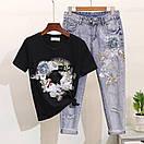 Костюм футболка и джинсы с вышивкой и пайетками, фото 6