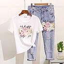 Костюм футболка и джинсы с вышивкой и пайетками, фото 9