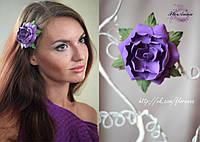 """""""Фиолетовая гардения"""" заколка цветок для девушки"""