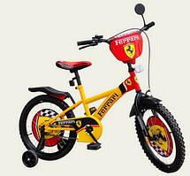 """Велосипед """"Феррари"""" двухколесный 12 дюймов со звонком, зеркалом и страховочными колесами"""