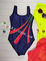 Сдельный подростковый купальник синий с красным для девочки 34-42р