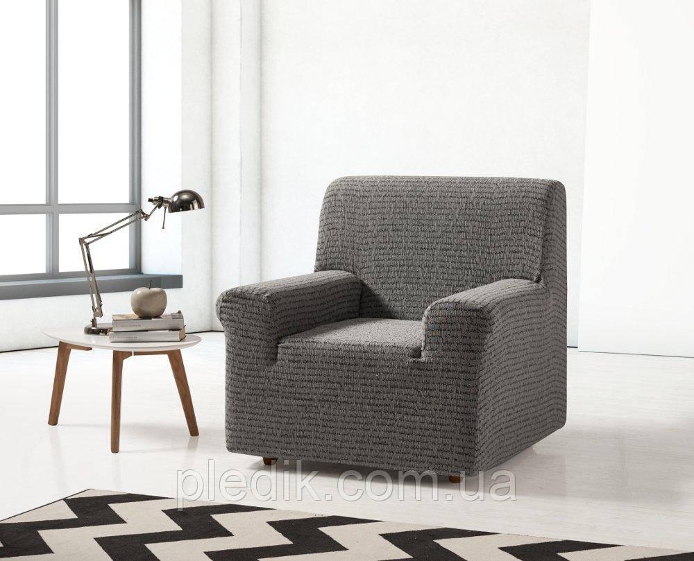 Чохол на крісло натяжна Іспанія, Zebra Textile Letras Летрас Сірий