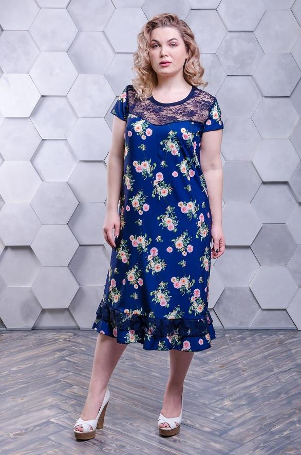 3bf362bd7999cf3 Красивое летнее платье большого размера Венеция - софт темно-синее с розами  (54-