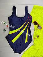 Совместный подростковый купальник синий с зеленым для девочки 34-42р