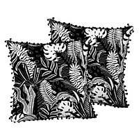 Подушка декоративная с помпонами Ночь в тропиках 45х45 см (45ISP_URB004)