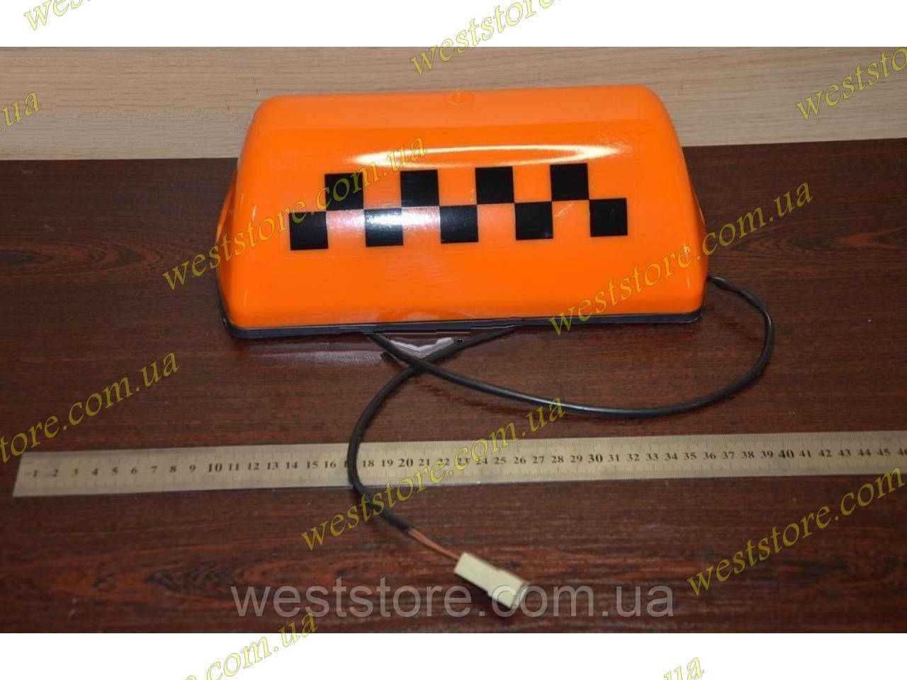"""Фонарь  """"Такси""""   оранжевый шашка с проводом на магните"""