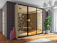 Двери раздвижные для шкафа-купе Зеркало-Бронза с пескоструйным рисунком