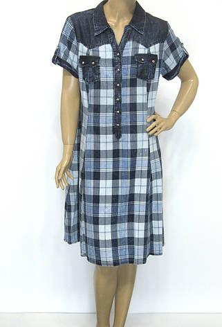 Джинсове плаття в клітинку великого розміру, фото 2