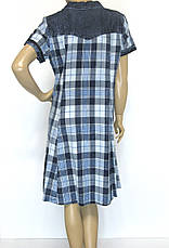 Джинсове плаття в клітинку великого розміру, фото 3