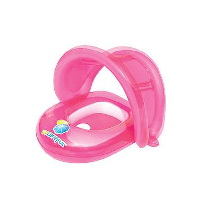 Детский плотик для купания BW 34091 с защитой от солнца                          (Розовый)