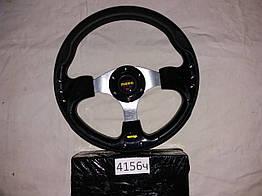 Спортивный руль 4156 3 спицы черный для авто