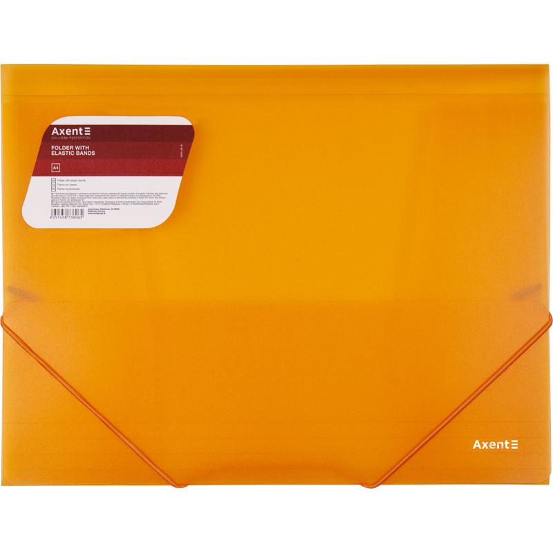 Папка на резинках Axent A4,прозрачная,оранжевая 1501-25-a