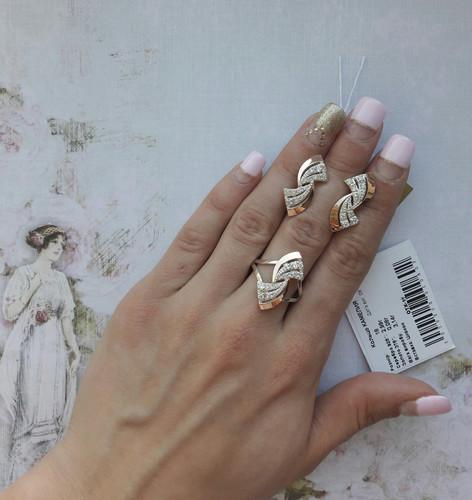 Серебряный набор с накладками из золота Камелия2