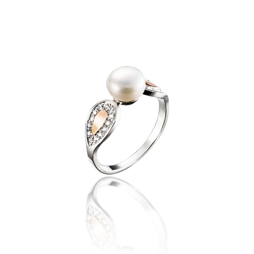 Серебряное кольцо с золотыми пластинами и фианитами СИМФОНИЯ