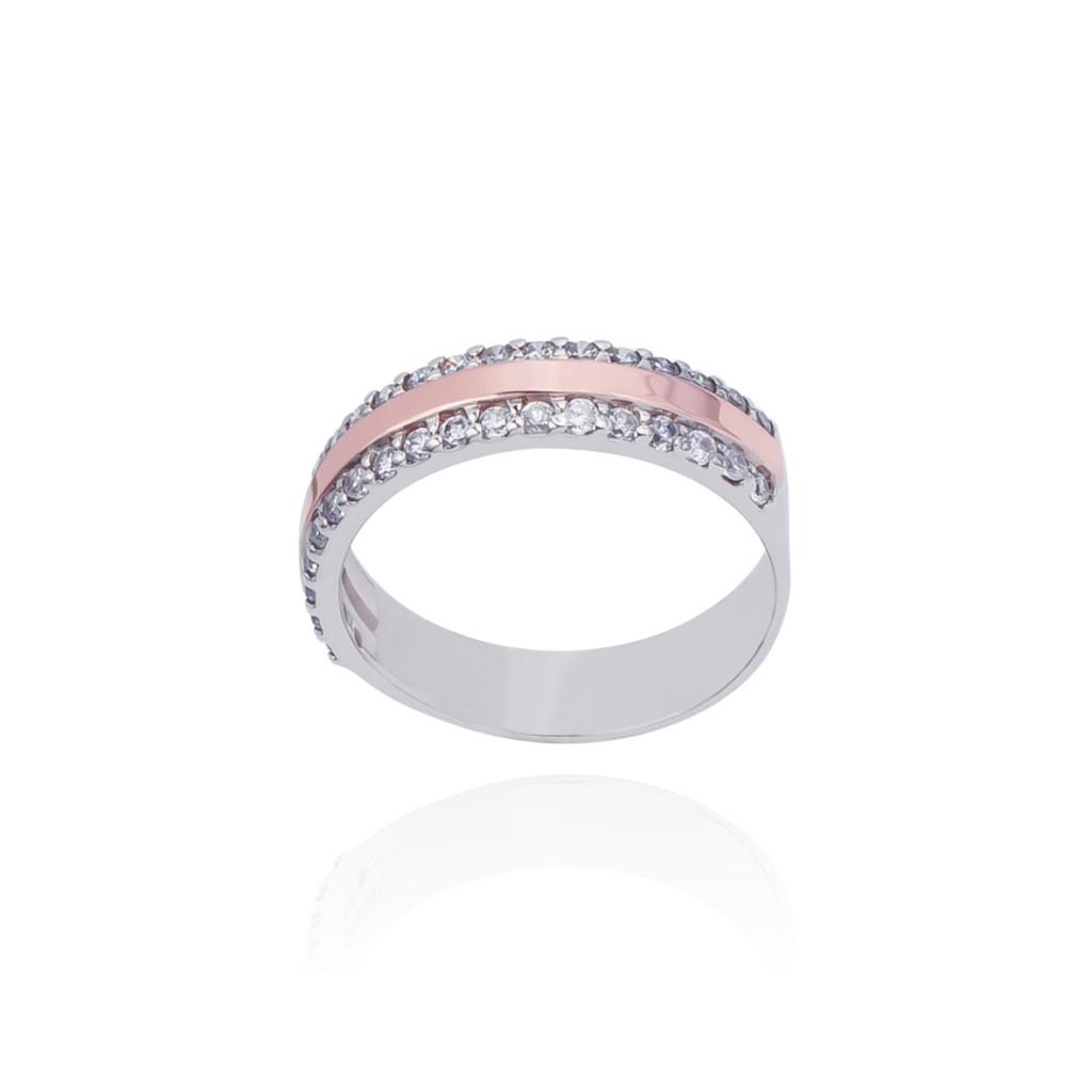 Серебряное кольцо с золотыми пластинками и фианитами МАРТА