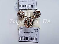 Кольцо серебряное 925 пробы с накладками из золота 375 пробы АПРЕЛЬ, фото 1