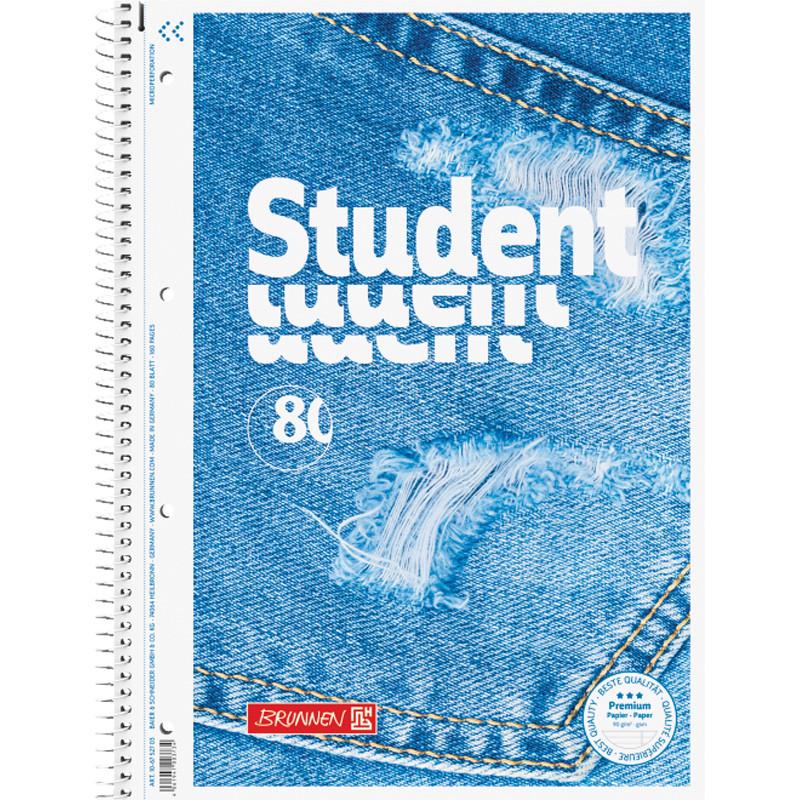 Записная книга коледж-блок Brunnen Premium Jeans А4 линейка, 80 листов 10 675 27 03