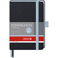 Записная книга блокнот Brunnen Компаньйон А6,черн.,клетка ,голубой срез 10 557 18 37