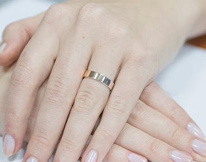 Серебряное кольцо с золотыми пластинами ВЕСТА