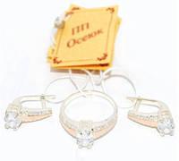 Серебряный набор с золотыми накладками 092, фото 1