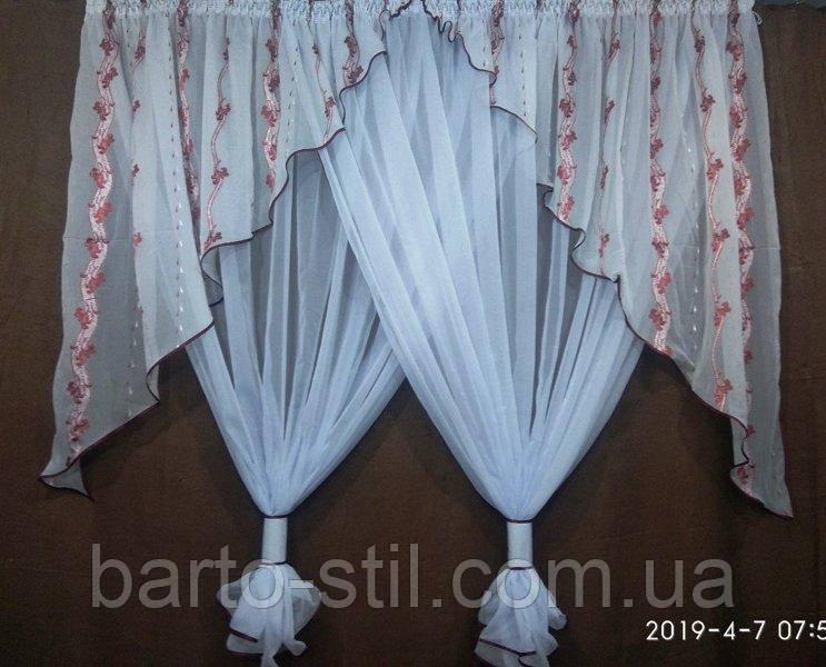 Занавеска на кухонное окно на карниз 2.5 м Высота 1.8 м