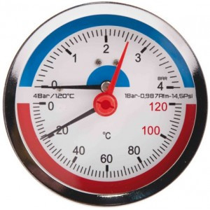 Термоманометр заднє зв'язок. 1/2 Ø80мм 120ºC 6 бар SD1736B