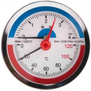Термоманометр заднє зв'язок. 1/2 Ø80мм 120ºC 6 бар SD1736B, фото 2