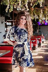 Летнее платье сатен-цветок синий
