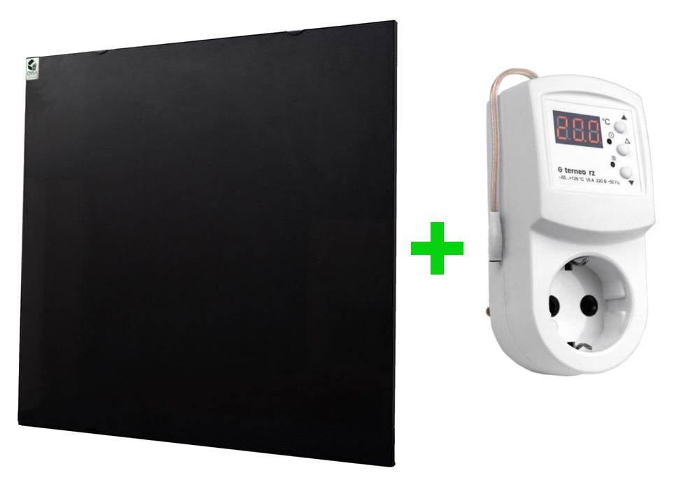 Обогреватель керамический ENSA cr500 черный с терморегулятором Terneo RZ (P=500Вт, S=10м2)