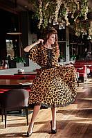 Летнее платье леопард из шифона