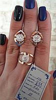 Кольцо серебро с золотыми вставками 116, фото 1