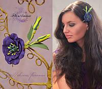 Заколка цветок для девушки. Веточка фиолетовой эустомы из полимерной глины