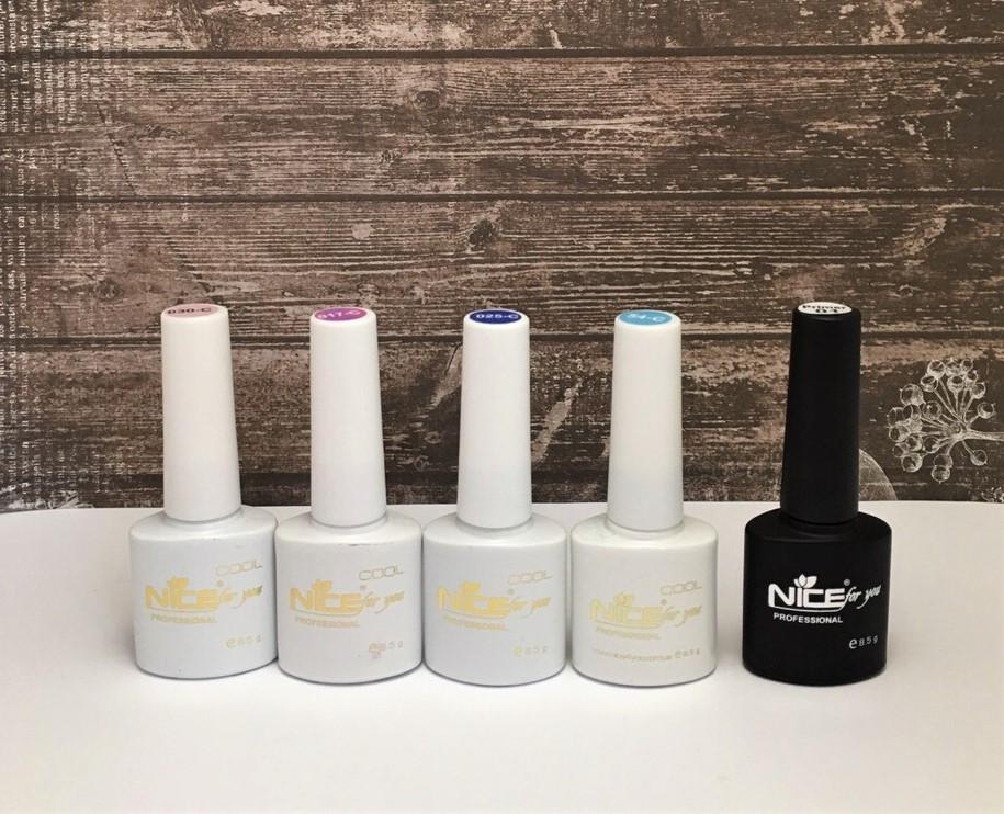 Набор Гель-лаков Nice for you серия Cool 4 шт. (8,5 мл) + Primer Праймер Nice безкислотный в подарок (8.5 мл)!