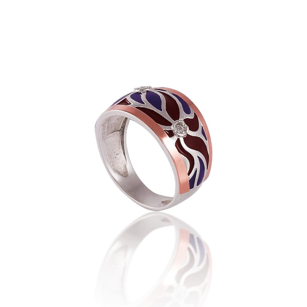 Серебряное кольцо с накладкой золота ЭДЕМ