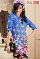 Платье женское летнее с цветочным принтом - Синий