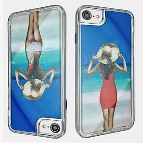 Чехол-накладка DK-Case пластик с силикон бортом Аквариум Girl in Swimsuit для Apple iPhone 7/8 (red)