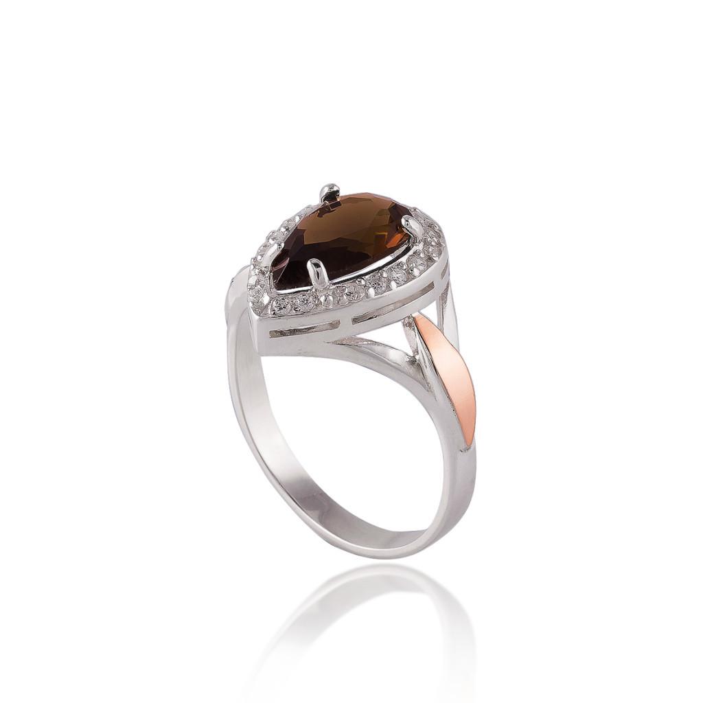 Кольцо серебряное 925 пробы и золота 375 пробы ЛАЗУРЬ
