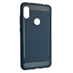 Чехол Silicone Carbon Soft Edge Xiaomi Redmi Note 7 Pro (dark blue)