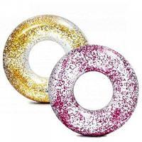 Надувной круг, 2 цвета (розовый и золотой) от 9 лет, 119см., Intex, 56274